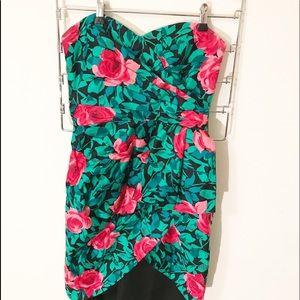 Vintage A.J. Bari Rose Print strapless dress A16